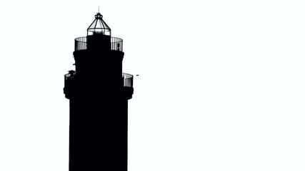 Silhouette of lighthouse and flying birds
