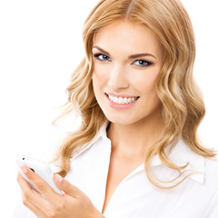 Businesswoman with cellphone, on white