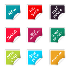 Set of web sale square stickers for online shop