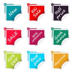 Set of sale square stickers web shop