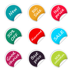 Set of web sale circle stickers for online shop