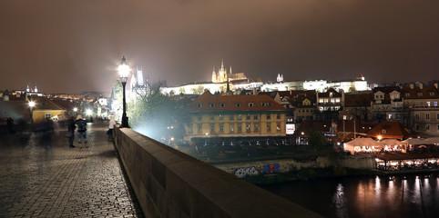 Vltava river, Charles Bridge and St. Vitus Cathedral. Prague