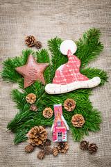 Hintergrund - weihnachts retro dekoration