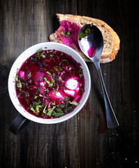 Cold beet soup with bread