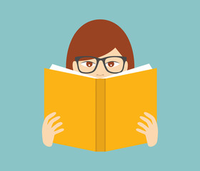 Girl reading a book. Flat vector.
