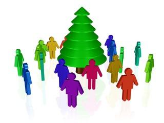 Menschen bestaunen einen Weihnachtsbaum