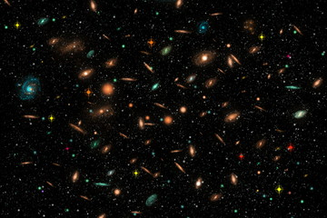Cluster of Galaxies in deep space