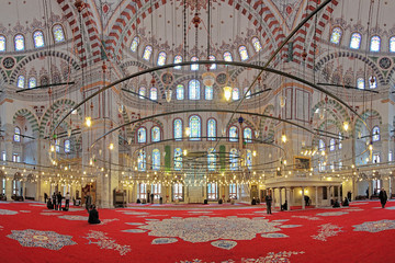 Interior of Fatih Mosque in Istanbul, Turkey