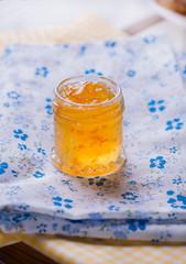 Jar with orange jam