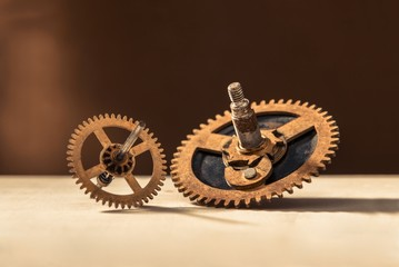 Old gears on table