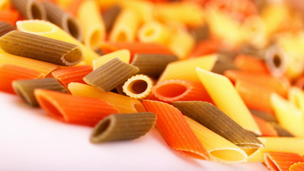 close up of colored noodles