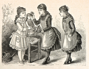 three little girls playing with a doll. vintage engraved illustr