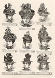 Elegant hat for fashion woman. Vintage mode newspaper