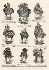 Elegant hat for fashion woman. Vintage mode newspaper