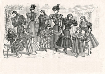 Victorian women and girls playing outdoors. Vintage engraved ill