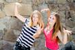 2 funny girls young women having fun posing grimacing