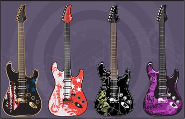 Electric Guitars art vector Pack 1