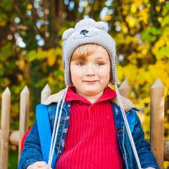 Autumn portrait of adorable toddler boy