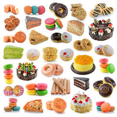 dessert, bread, cake, donuts, breadsausages isolated on white b