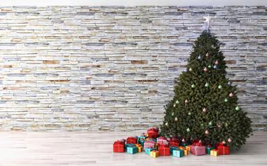 Interno con albero di Natale