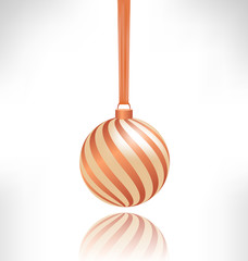 Single spiral Christmas ball hanging on piece of fabric with ref