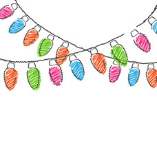 Multicolored flat hand-drawn Christmas lights isolated on white