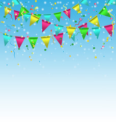 Multicolored bright buntings garlands with confetti on sky backg