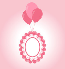 Lace pink baby frame flying on air balls on pink background