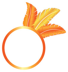 Orange blank frame ring with three feathers isolated on white ba