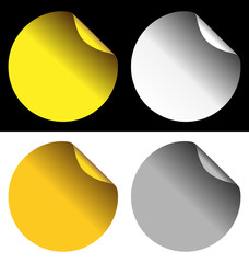 Two golden and two silver stickers isolated on white and black b