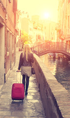 woman traveling in venice