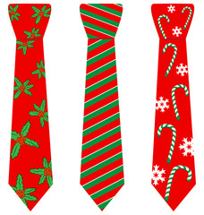 Three red Christmas ties with print isolated on white background