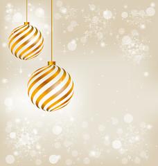Golden spiral christmas balls in snowfall