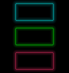 Three multicolored self-illuminated frames for text isolated on