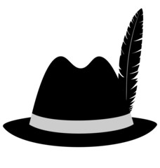 Black hat with feather isolated on white background