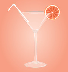Empty glass for martini with grapefruit and plastic tube on pink