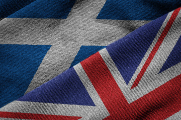 Flags of UK and Scotland on Grunge Texture