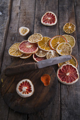 Slices of dried citrus