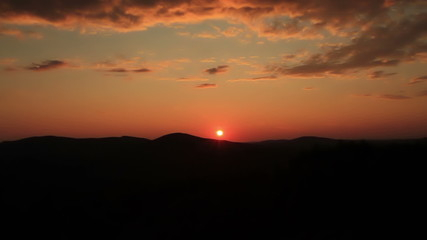 Sunset over mountains in Maine