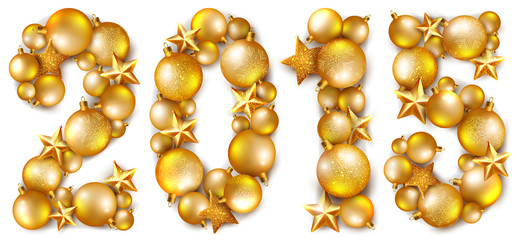 2015 inscription made of shiny Сhristmas tree balls and stars