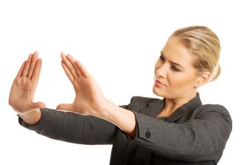Woman gesturing frame