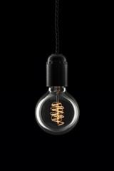Round retro lightbulb - light on