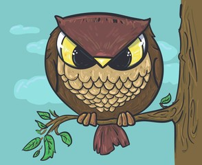 Sitting on a tree. Owl vector