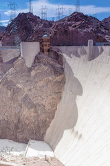 One side of Concrete Hoover Dam at Noon