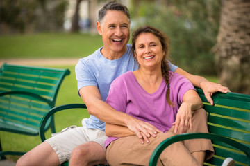 Elder couple relaxing at the park