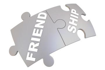 Дружба (friendship). Слово составленное из пазлов