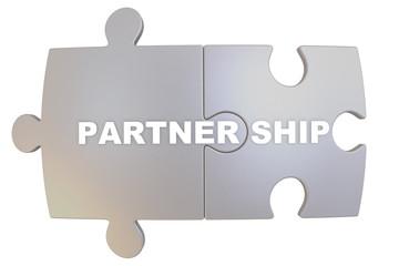 Сотрудничество (partnership). Слово составленное из пазлов