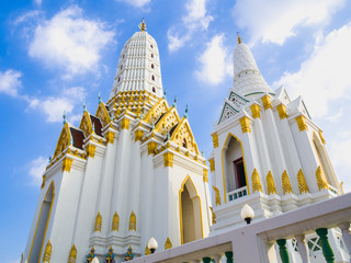 Group of Thai style white pagodas in the church.