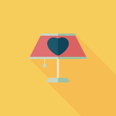 Valentine's Day heart lamp flat icon with long shadow,eps10