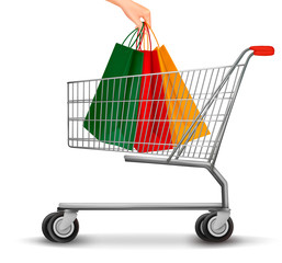 Shopping cart with colorful shopping bags. Discount concept. Vec